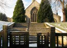 Church and gates with snow