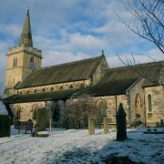 Church side with snow
